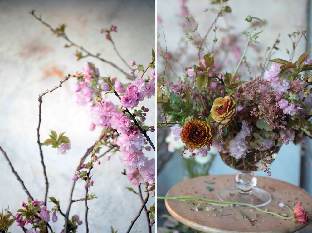 "Sarah and her team recently created these pink and brown arrangements for a gala in Rome honoring Alice Waters of famed Berkeley, CA restaurant  Chez Panisse . Her inspiration- ""unusual palettes."" This arrangement makes me want to weep. I love it so much.  Image found on Saipua's   Journal."
