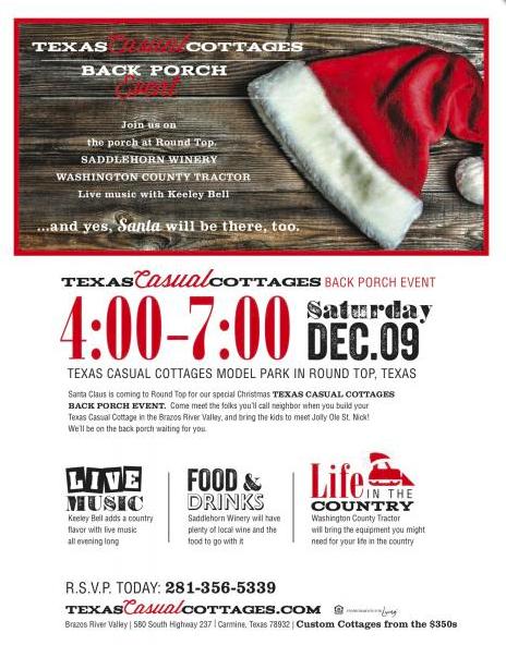 Texas Casual Cottages Back Porch Event — Carmine, Texas