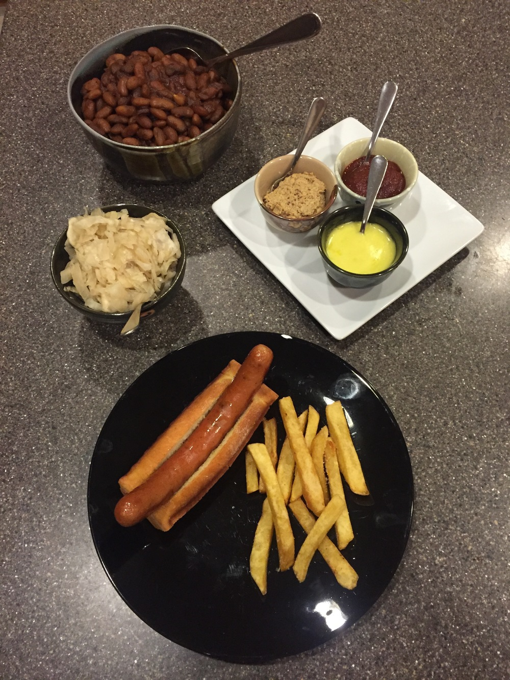 Meal made 100% completely from scratch by Dr. Schindler - hot dog, hot dog bun, french fries, ketchup, mustard, mayo and sauerkraut.  Learn how!!