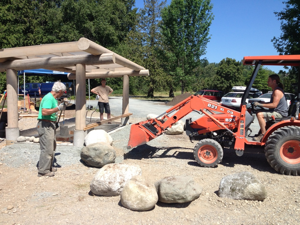 Boulders Placed around Sculpture - June 2015