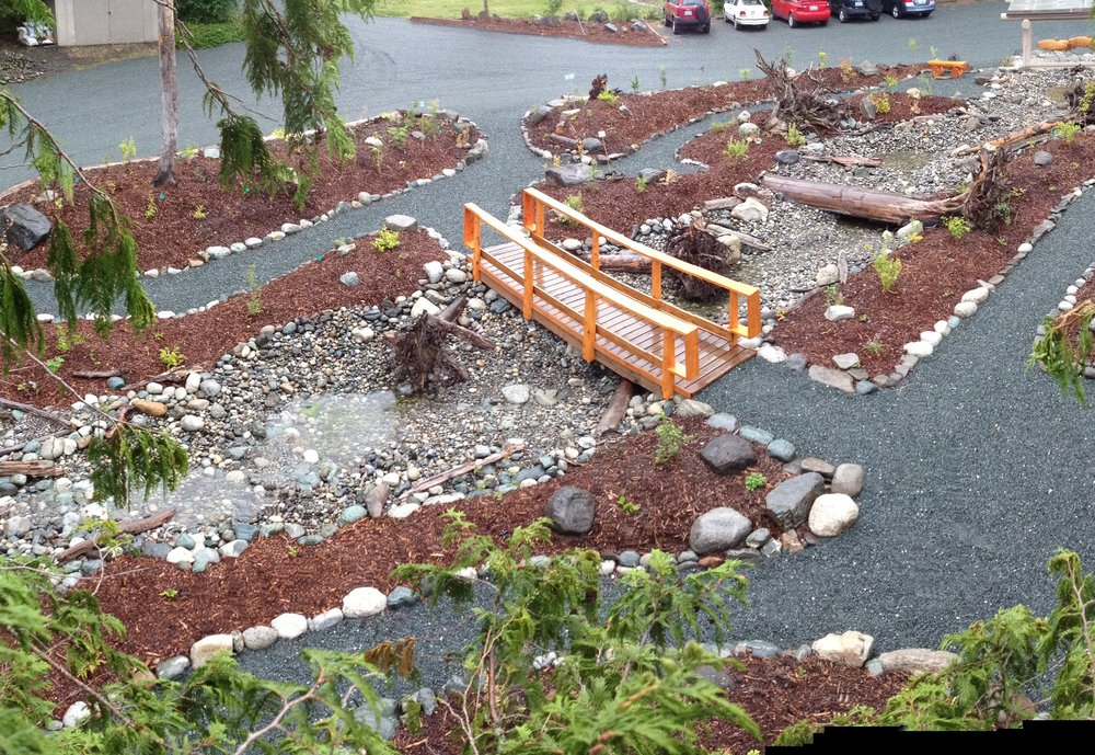 Commitment Creek flows through the newly planted demo garden-Spring 2016