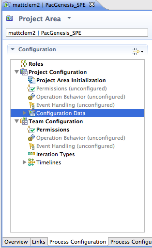 Process Configuration Tab