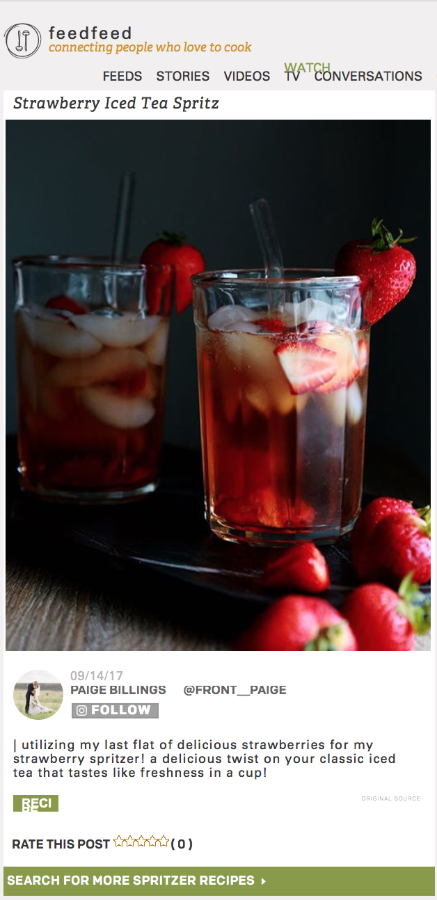 feedfeed & Driscolls Berries - Although summer is ending we don't have to let our blues get in the way of enjoying a refreshing Strawberry Iced Tea Spritzer with delicious Driscoll's strawberries! Refreshing, tangy and sweet from the berries, this is a perfect afternoon delight!