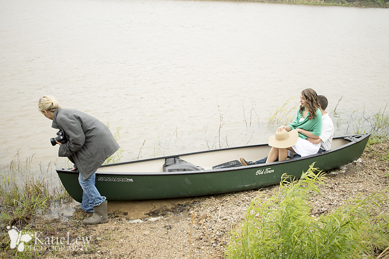 Steph getting the canoe just where she wants it.