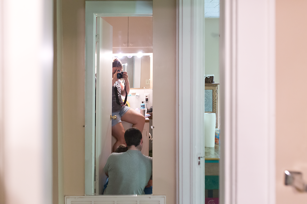 """A little behind the scenes. This was my """"perch"""" during the birth. The bathroom sink."""