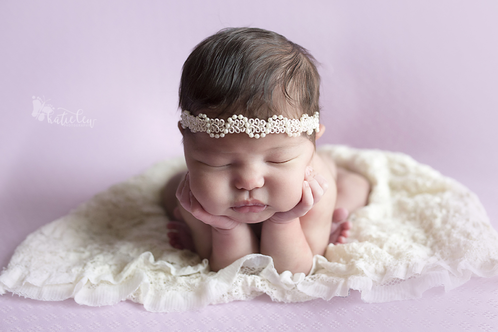 froggy pose newborn baby girl
