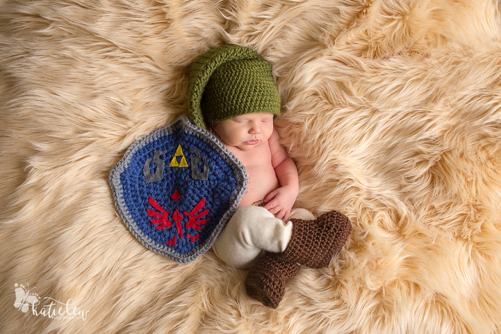 Link from Zelda newborn photo