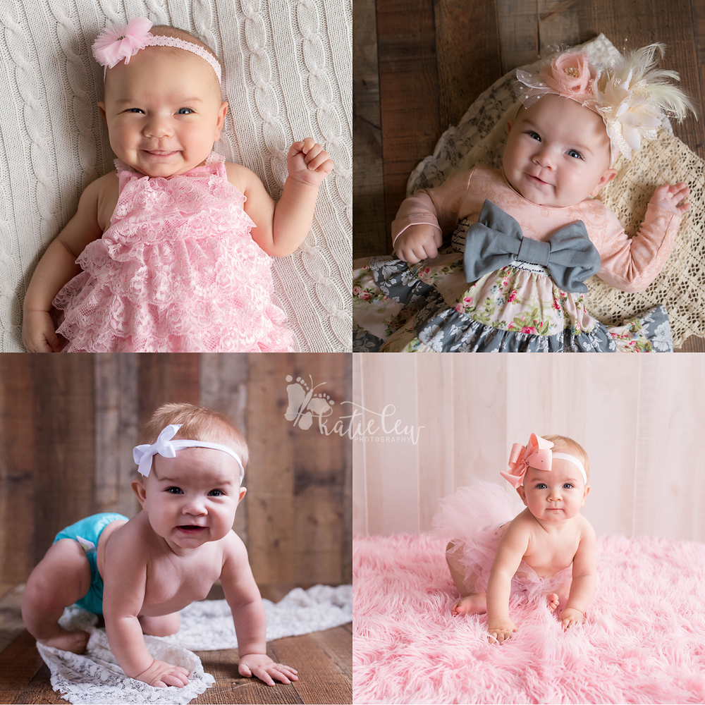 A collage of photos showing a baby girl growing up through her first year