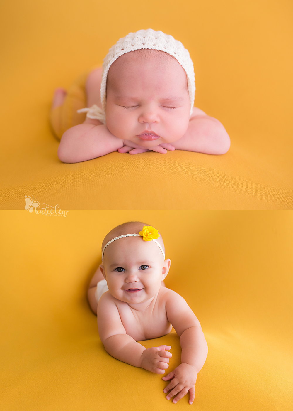 newborn baby girl and her again at 6 months for a sweet comparison picture
