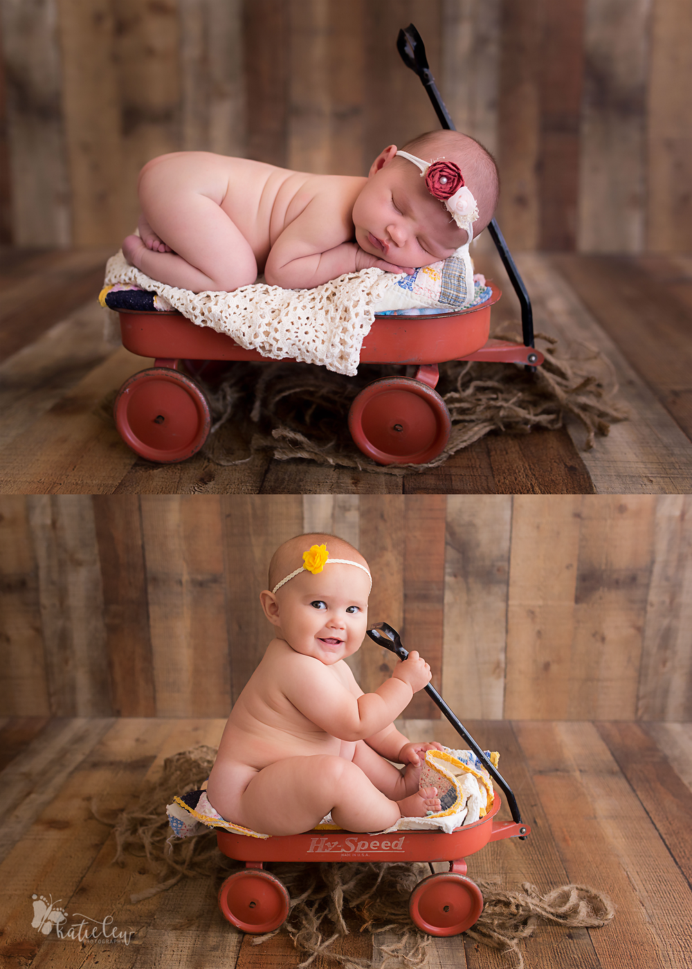 comparison image of a baby girl as a newborn and at 6 months