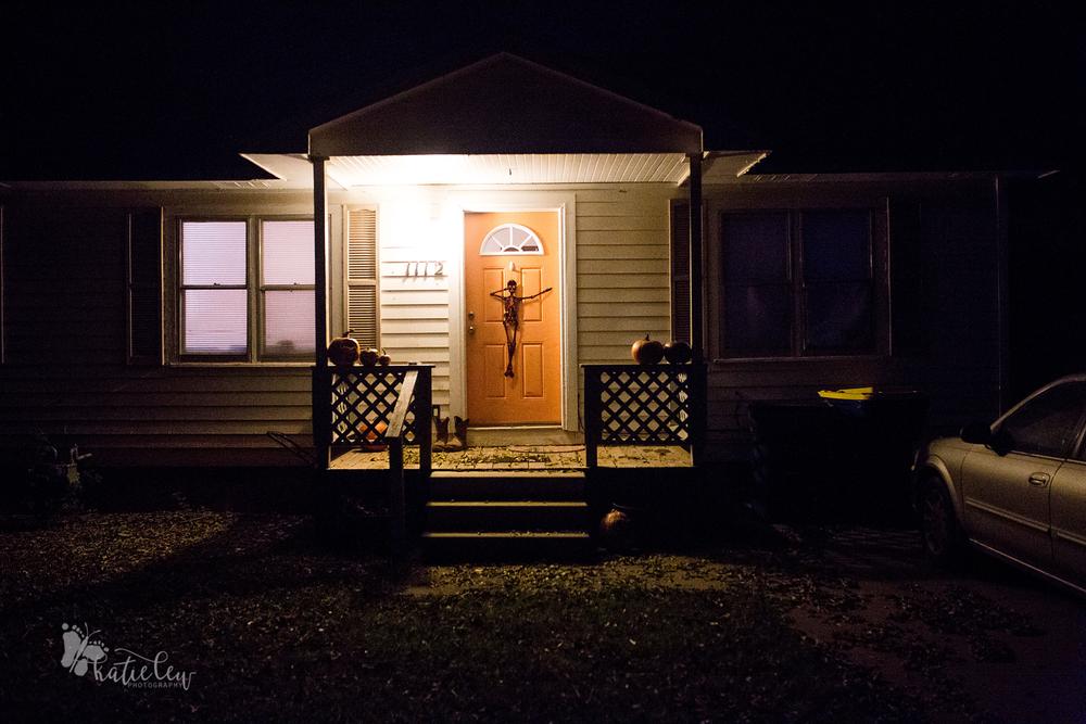 front door with halloween decor