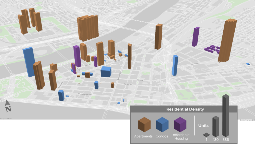 Residential Density (housing units per building) in Downtown Pittsburgh as of Summer 2015 Source: Pittsburgh Downtown Partnership