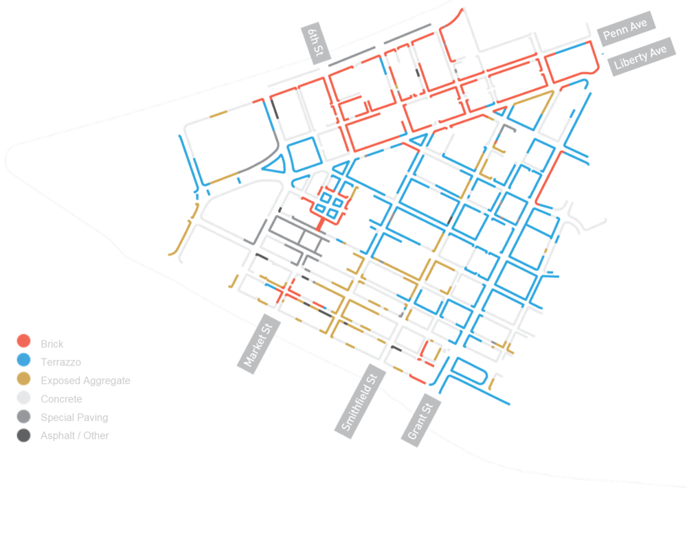 Sidewalk Materials Map of Downtown Pittsburgh. Complied as part of Envision Downtown's Public Space Public Life Survey with Gehl STudio in October 2015.