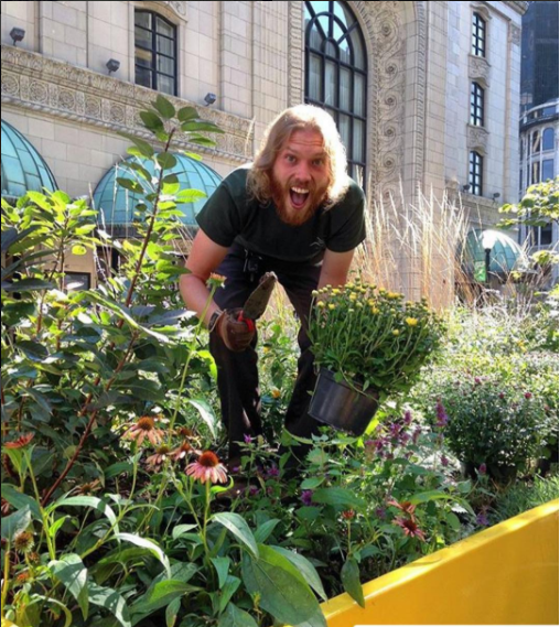 Western Pennsylvania Conservancy staff maintain the Mobile Parklet Plantings