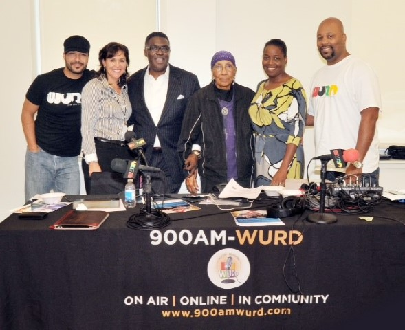 WURD Crew with Glenn Ellis; SHS Nutritionist, Terry McGroarty; CMO, Kristie Johnson; Senior Citizen
