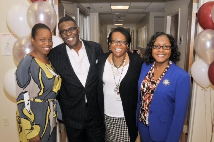 SHS CMO Kristie Johnson; WURD Glenn Ellis; SHS CEO Phyllis Cater; SHS COO Brenda Noel
