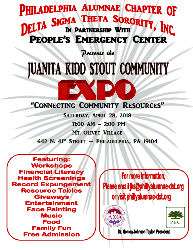 Juanita Kidd Stout Communmity Expo flyer.png