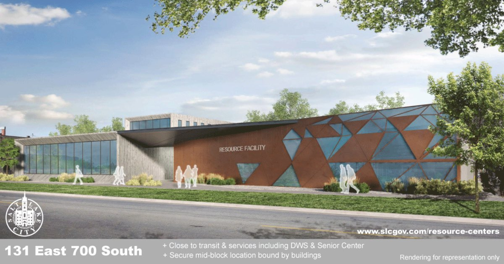 """""""theoretical"""" rendering of 700 South Homeless Resource Center, on the current site of Deseret Industries"""