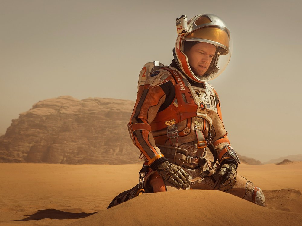 Image of Mark Watney from the movie:  The Martian