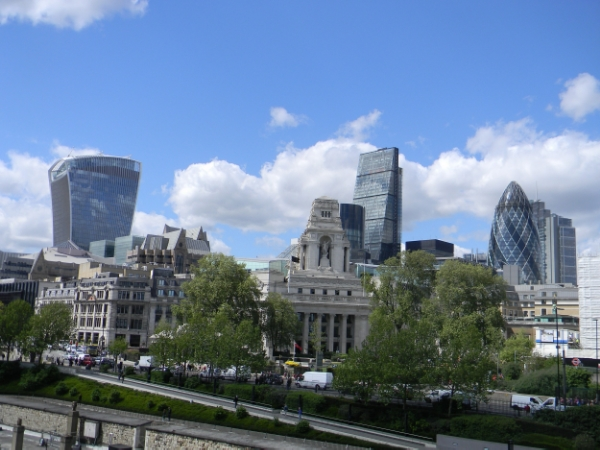 From left to right: the Walkie-Talkie, the Cheese-Grater, and the Gherkin.