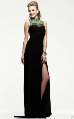high split jewel neck prom dress