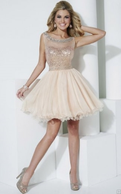 short sequin beaded prom dress