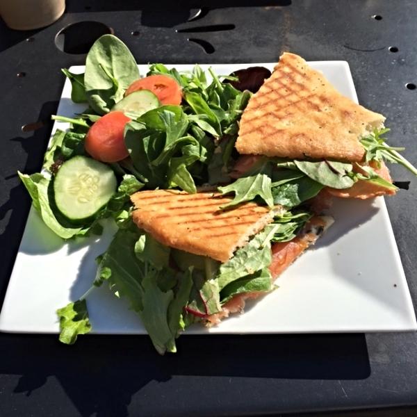 salmon and artichoke panini