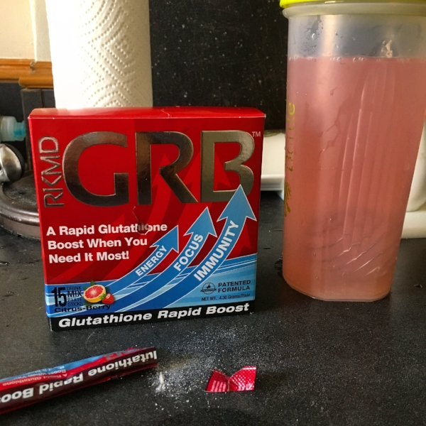 Glutathione Rapid Boost, package and all, in my shaker bottle.