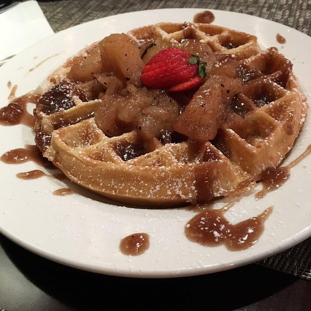 Apple and caramel waffle