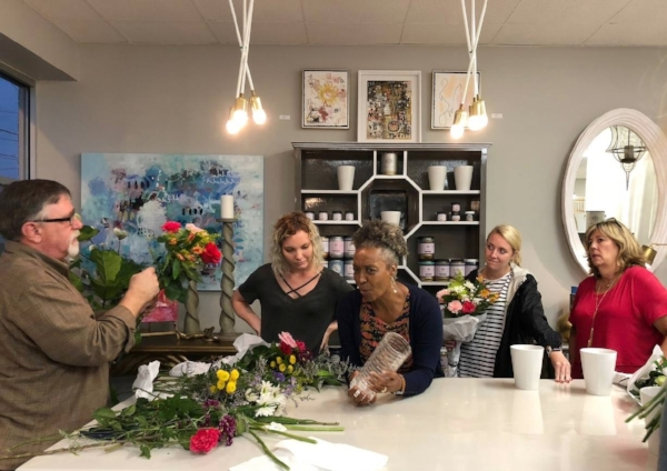 flower arranging at bridget beari