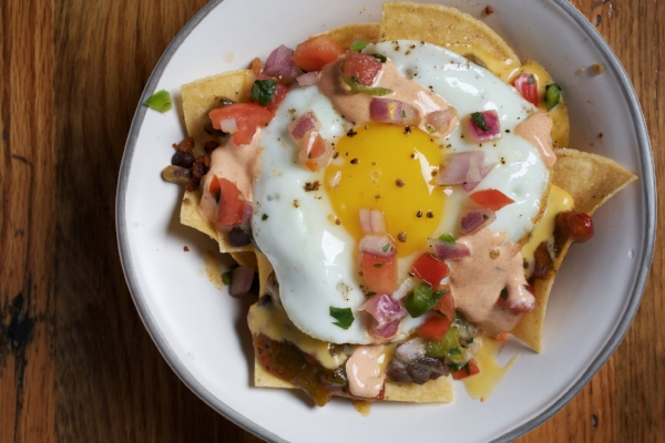 Chilaquiles breakfast nachos. Photo by Deb Lindsey.