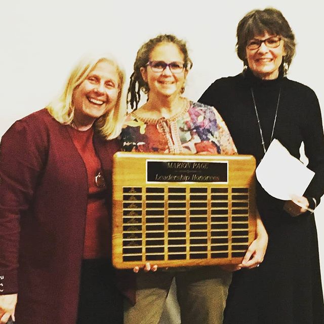 This year's recipient of the Marion Page Leadership Award goes to AE Tuck! This is Varnum Memorial Library and Crescendo Club's recognition of service to the Library. With April are @karensmitheh of the Crescendo Club Board and Librarian Linda.  Photo by @rockinronthefriendlypirate