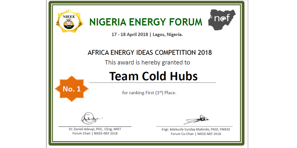 The Nigerian Energy Forum (NEF) 2018 , a capacity building, training, and development programme for policy makers, business leaders, energy users, professional engineers, industry experts and academics in the energy sector of Nigeria and other African countries has awarded ColdHubs 1st Prize of its African Energy Ideas award.   The recognition was during the NEF Forum held on April 17-18, 2018 at the Landmark Centre, Victoria Island Lagos, Nigeria, with the theme 'Accelerating Access to Sustainable Energy for All'.  Watch Video