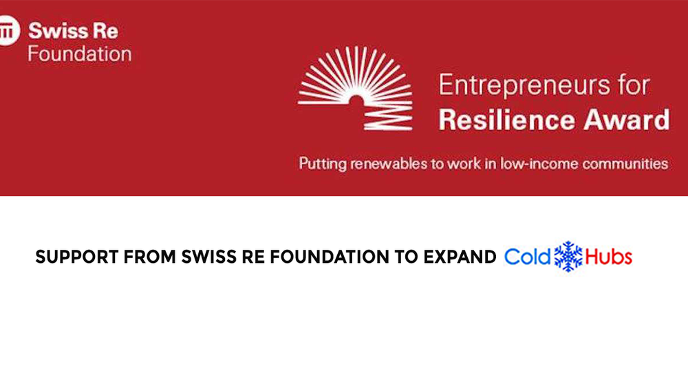 As First Runner Up of the 2018 Entrepreneurs in Resilience Awards, ColdHubs will be receiving support from Swiss Re Foundation to expand its 100% solar powered walk-in cold rooms to extend the shelf life of perishable food in Imo State and Abuja, the Federal Capital Territory (FCT) Nigeria. The ColdHubs team is excited about this incredible support coming from Swiss Re Foundation and looks forward to additional Hubs deployment to eliminate lack of cold storage induced food spoilage.   Read More