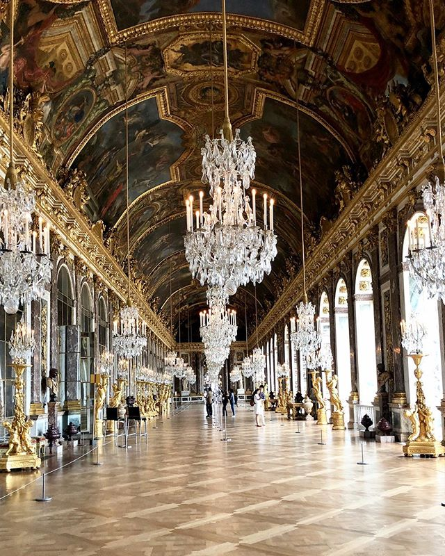 The Hall of Mirrors. Built for the Sun King of France. #versailles