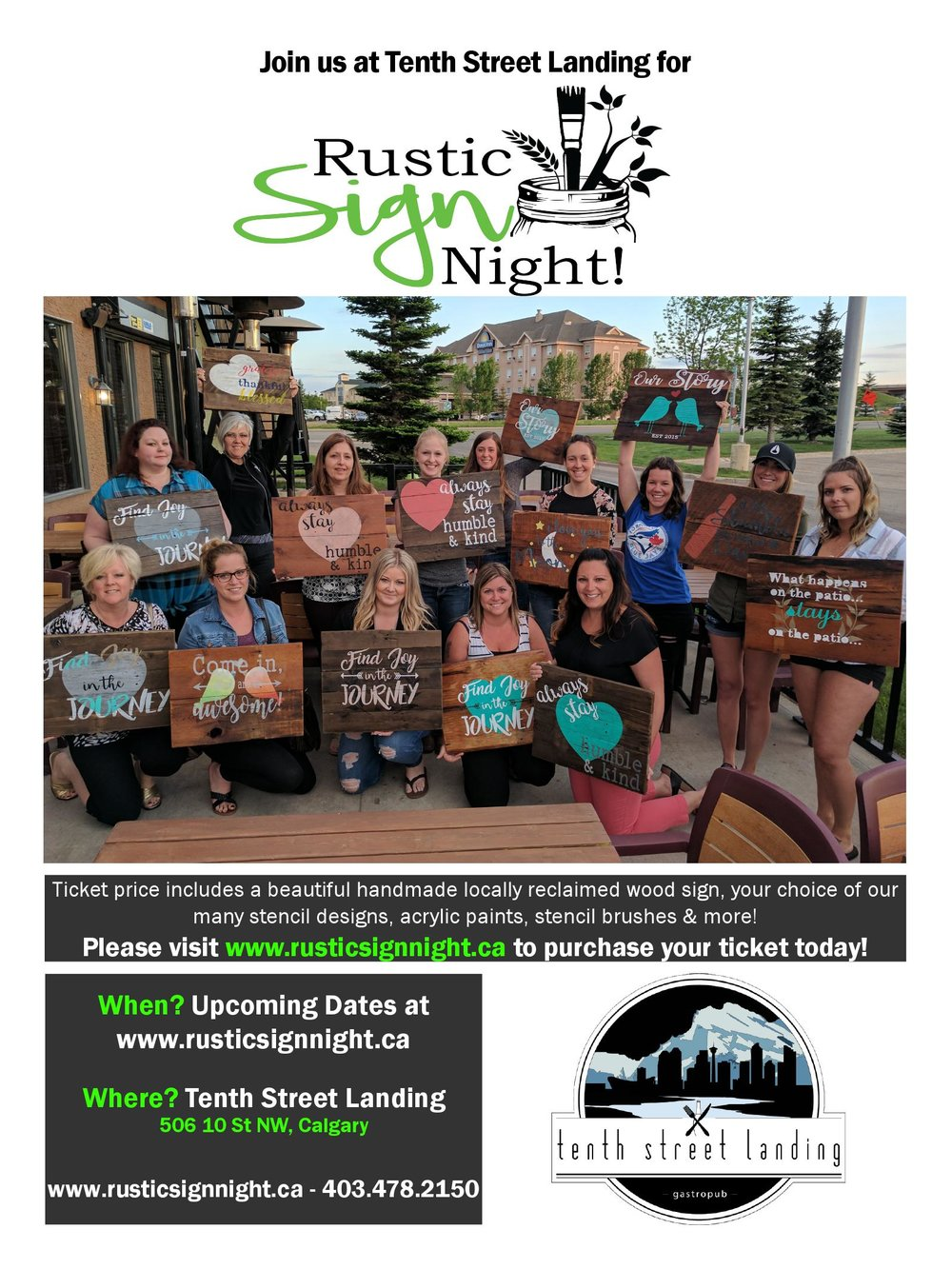 Tuesday Aug 15th 7pm and Sept 12 7pm are our next Rustic Sign Night