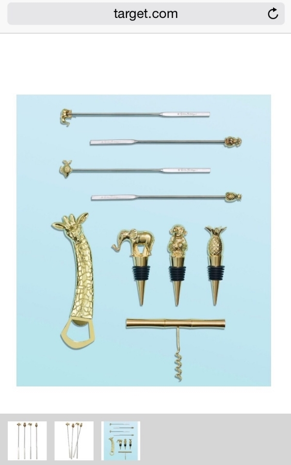 Wine toppers & corkscrew $20, Bottle opener $10, set of 4 swizzle sticks $15