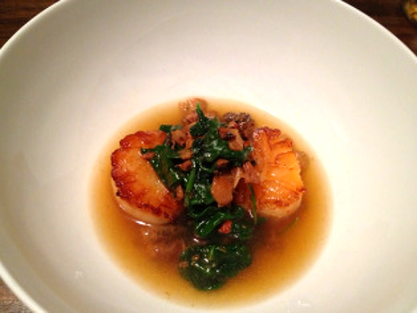 Seared Scallops in a Mushroom Broth