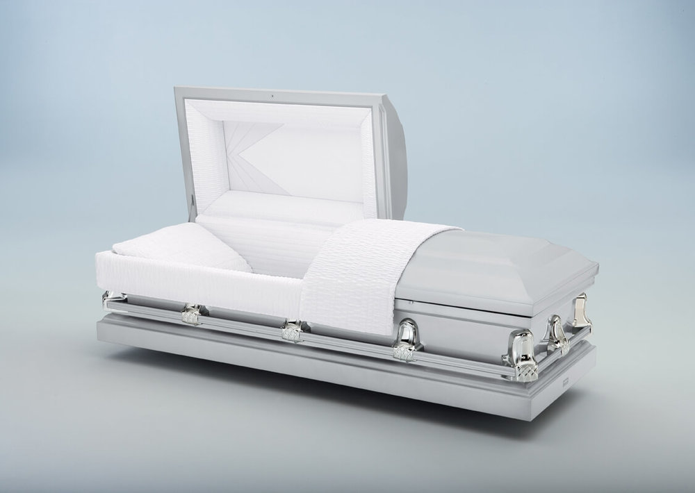 Gemini Silver   Silver exterior, white crepe interior  $500.00 (Included in Direct Burial Package)