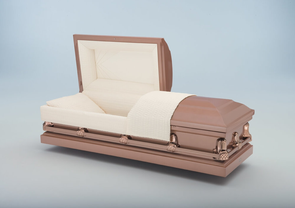 Gemini Copper   Brown exterior, rosetan crepe interior  $500.00 (Included in Direct Burial Package)