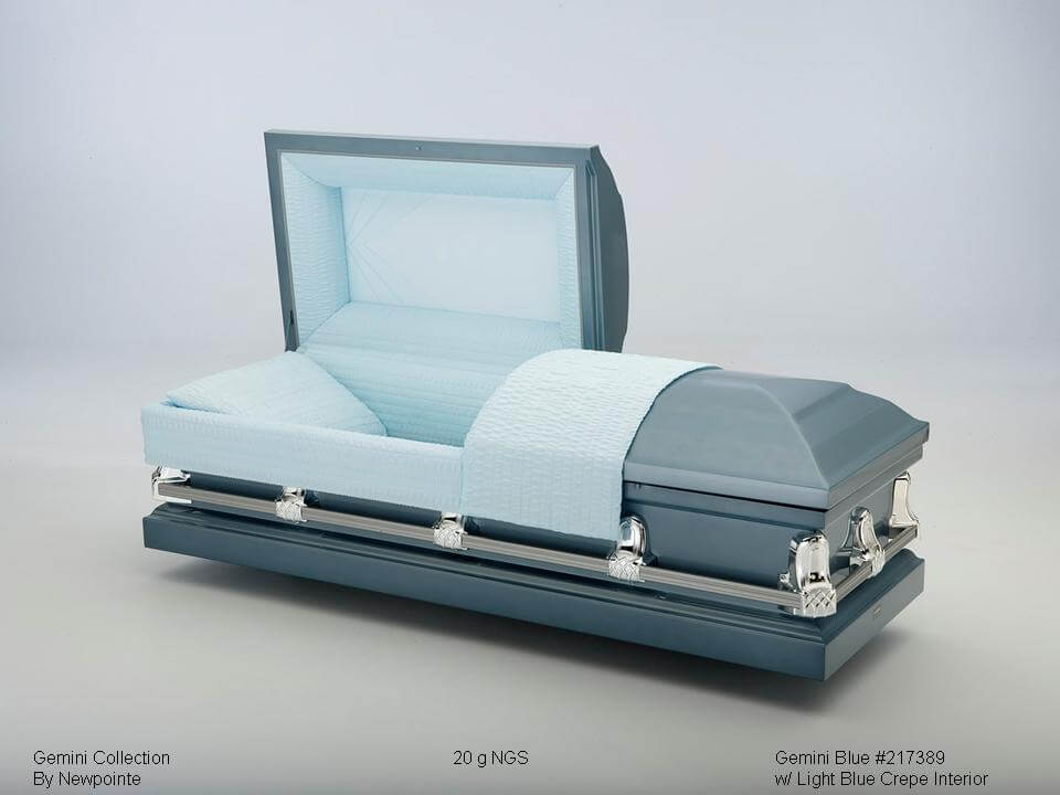 Gemini Blue   Blue exterior, light blue interior  $500.00 (Included in Direct Burial Package)