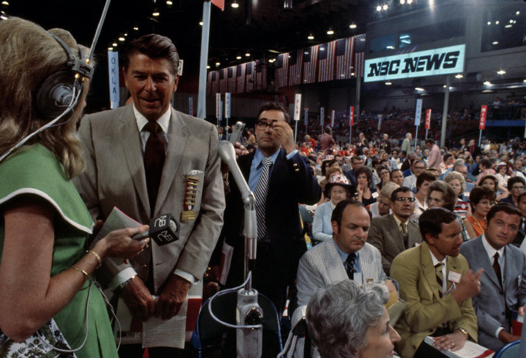 California Governor Ronald Reagan being interviewed at the Republican Convention. Photographed by Burt Glinn/Magnum.