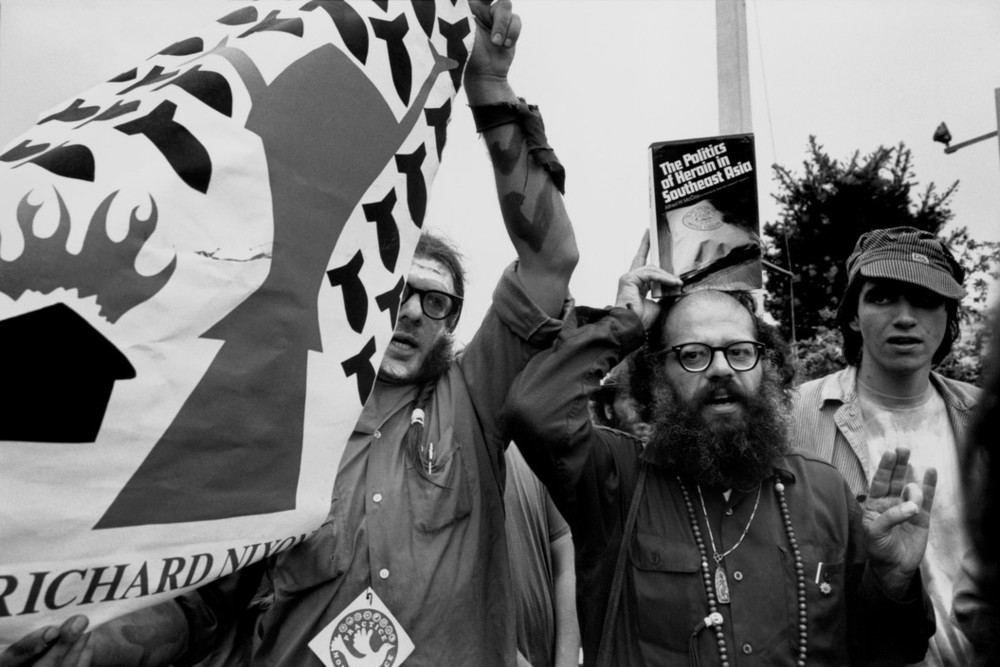 Allen Ginsberg marching at an anti-Vietnam war rally at the Republican Convention. Photographed by Abbas/Magnum.