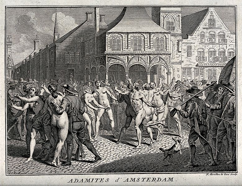 The arrest of Adamites in a public square in Amsterdam. Etching by F. Morellon la Cave