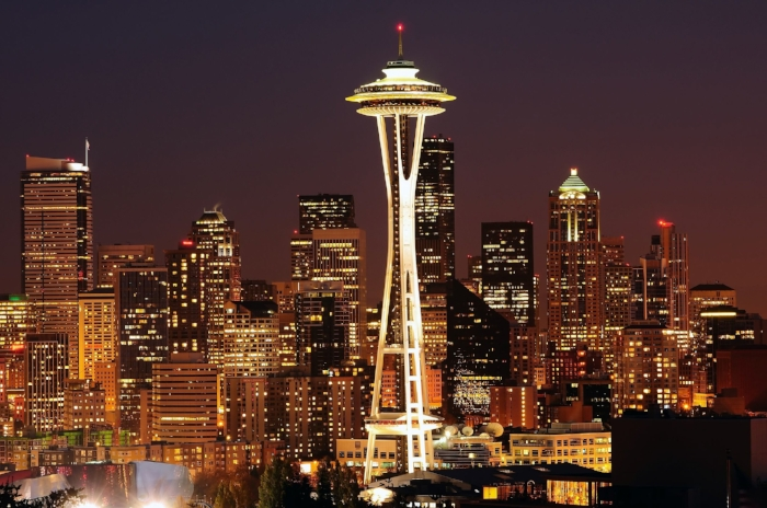 VIEW OF THE SPACE NEEDLE in SEATTLE, WASHINGTON.