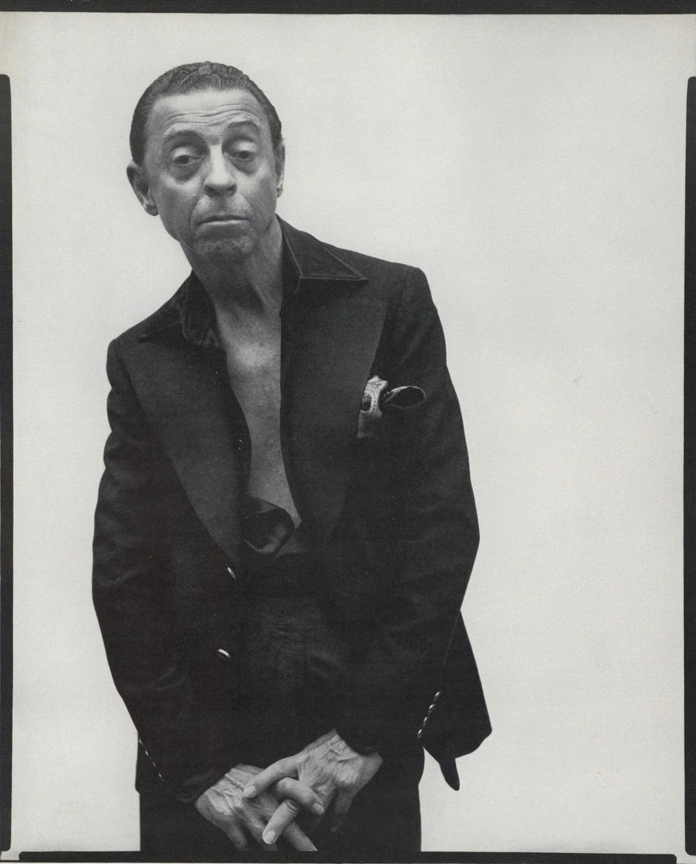James Galanos photographed by Richard Avedon in New York City, August 10, 1975. Published in Vogue, October 1976.