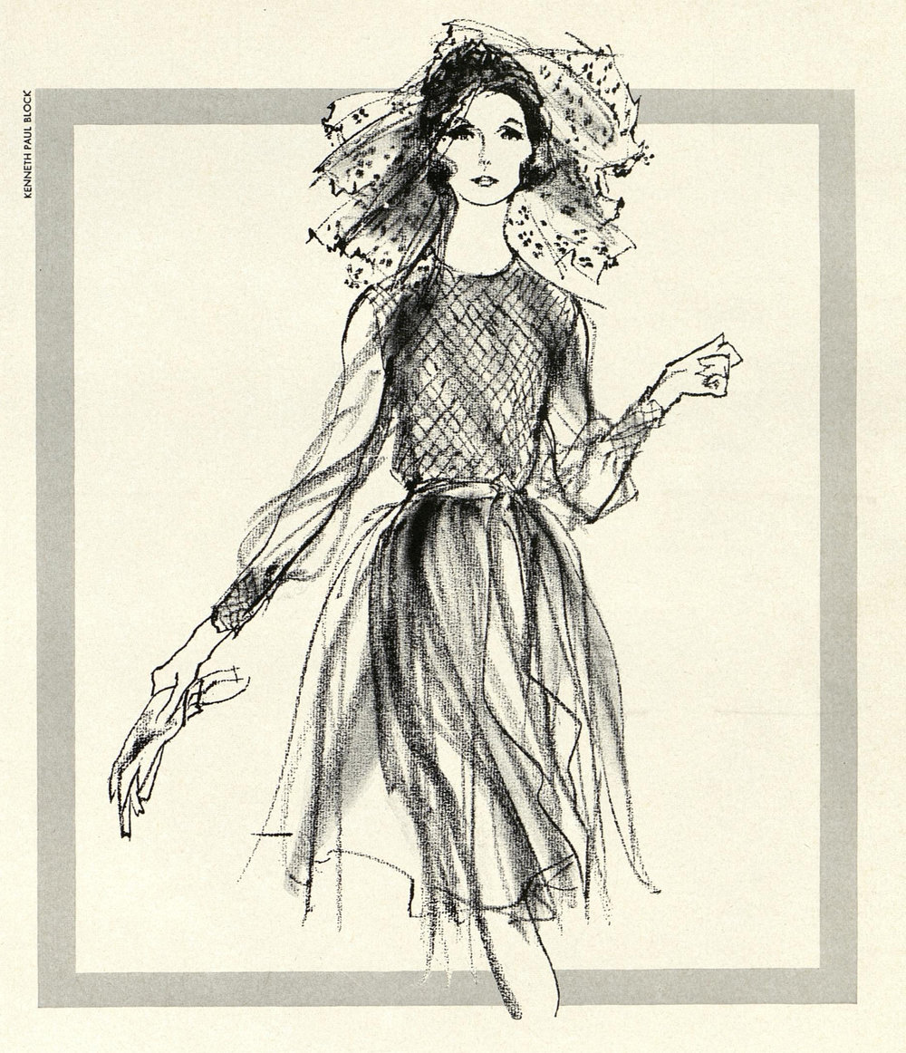 A delicate silk chiffon dress with smocked bodice and cuffs, available in smoke gray or navy. Illustrated by Kenneth Paul Block for a Bonwit Teller ad, April 1965.