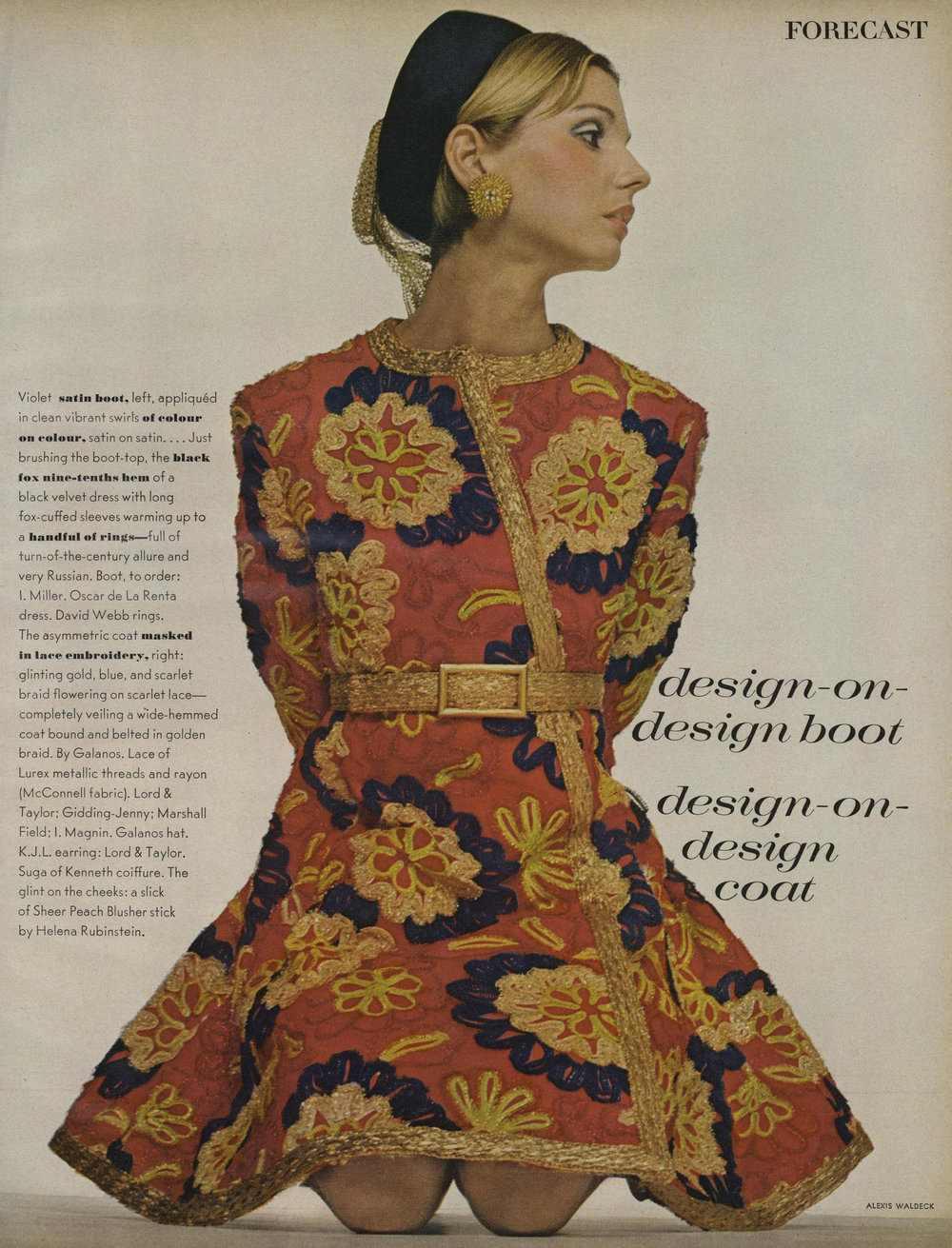"An asymmetric coatdress of ""glinting gold, blue, and scarlet braid flowering on scarlet lace"" with a high belt and flared hem. Photographed by Alexis Waldeck for  Vogue , July 1968."