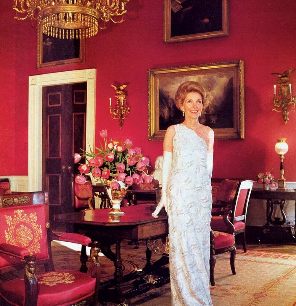 Nancy Reagan in the one-shoulder beaded column that Galanos designed for her husband's first inaugural ball on January 20, 1981; photographed by Horst P. Horst.