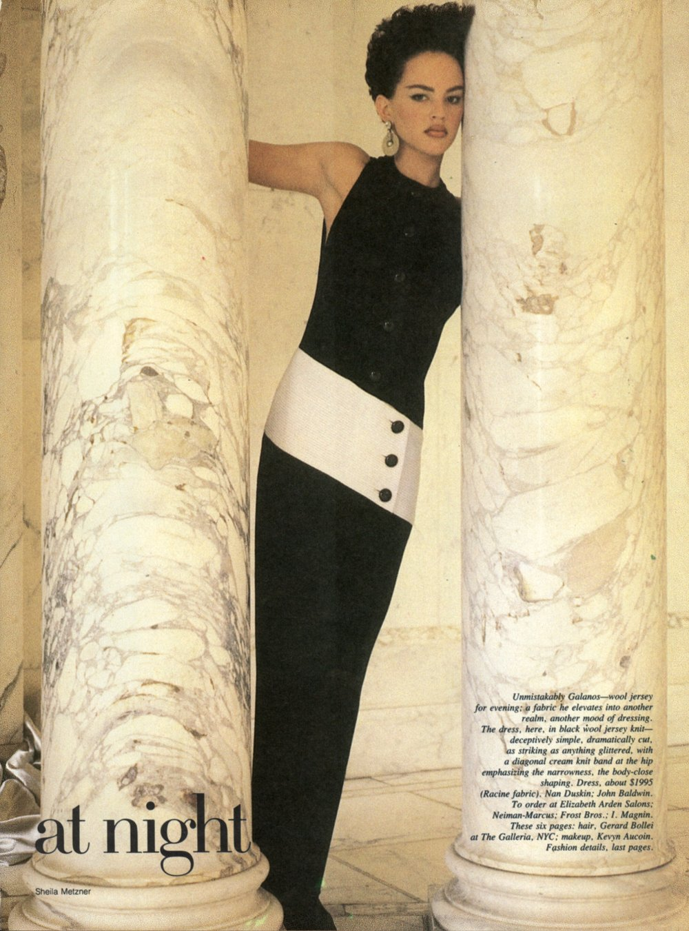 "A column of wool jersey, ""a fabric he elevates into another realm, another mood of dressing."" Photographed by Sheila Metzner for  Vogue , June 1985."